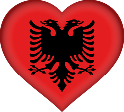 Flag of Albania - Heart 3D
