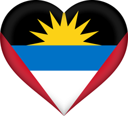Flag of Antigua and Barbuda - Heart 3D