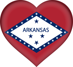 Flag of Arkansas - Heart 3D