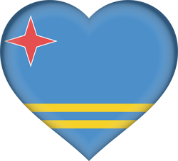 Flag of Aruba - Heart 3D