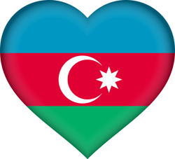 Flag of Azerbaijan - Heart 3D