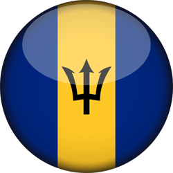 Flag of Barbados - 3D Round