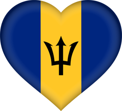 Flag of Barbados - Heart 3D