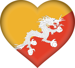 Flag of Bhutan - Heart 3D
