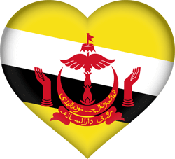 Flag of Brunei - Heart 3D