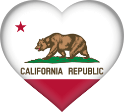 Flag of California - Heart 3D
