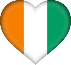 Flag of Ivory Coast - Flag of Côte d'Ivoire - Heart 3D