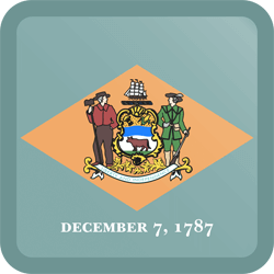 Flag of Delaware - Button Square