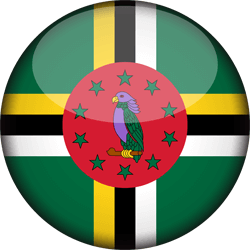 Flag of Dominica - 3D Round