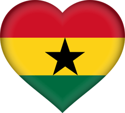 Flag of Ghana - Heart 3D