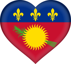 Flag of Guadeloupe - Heart 3D