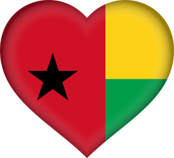 Flag of Guinea-Bissau - Heart 3D