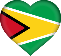 Flag of Guyana - Heart 3D