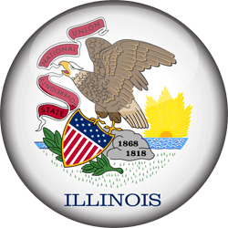 Flag of Illinois - 3D Round