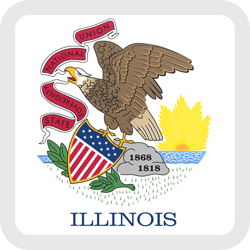 Flag of Illinois - Button Square