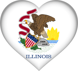 Flag of Illinois - Heart 3D