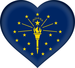 Flag of Indiana - Heart 3D