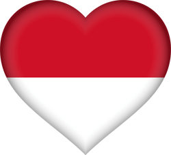 Flag of Indonesia - Heart 3D