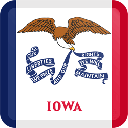 Flag of Iowa - Button Square