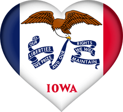 Flag of Iowa - Heart 3D