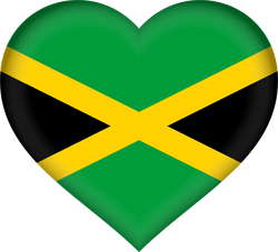 Flag of Jamaica - Heart 3D
