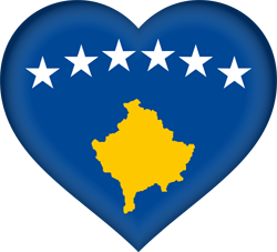 Flag of Kosovo - Heart 3D