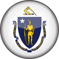 Flag of Massachusetts - 3D Round