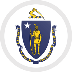 Flag of Massachusetts - Button Round