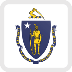 Flag of Massachusetts - Button Square