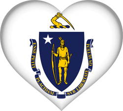Flag of Massachusetts - Heart 3D