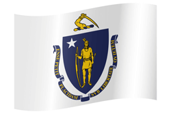 Flag of Massachusetts - Waving