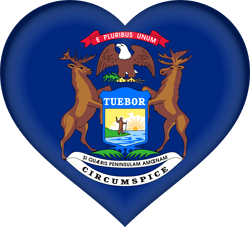 Drapeau du Michigan - Coeur 3D