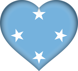 Flag of Micronesia - Heart 3D