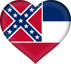 Flag of Mississippi - Heart 3D