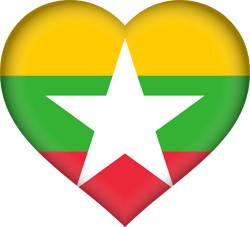 Flag of Myanmar - Heart 3D