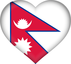 Flag of Nepal - Heart 3D