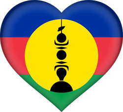 Flag of New Caledonia - Heart 3D