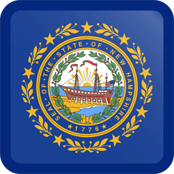 Flag of New Hampshire - Button Square