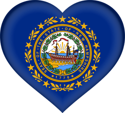 Drapeau du New Hampshire - Coeur 3D
