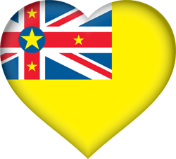 Flag of Niue - Heart 3D