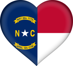 Drapeau du North Carolina - Coeur 3D