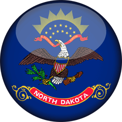 Flag of North Dakota - 3D Round