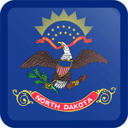 Flag of North Dakota - Button Square