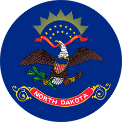 Flag of North Dakota - Round