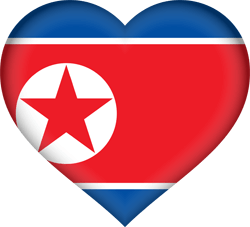 Flag of North Korea - Heart 3D