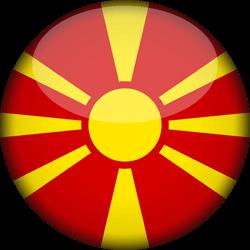 Drapeau de la Macédoine du Nord - 3D Rond