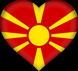 Drapeau de la Macédoine du Nord - Coeur 3D
