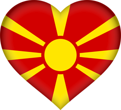 Vlag van Noord Macedonië - Hart 3D