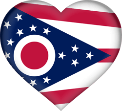Flag of Ohio - Heart 3D