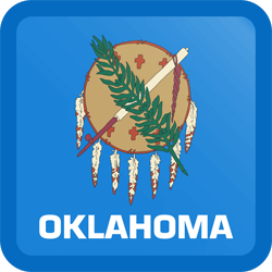Flag of Oklahoma - Button Square